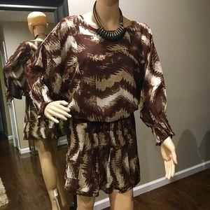 Brown and ivory mini dress
